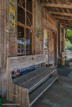 Front porch of the General Store in Luckenbach, Texas Hill Country - ExplorationVacation.net