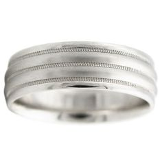 14K WHITE GOLD MEN'S ANTIQUE WEDDING BAND RING