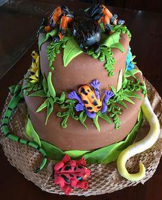 Reptile/rainforest Cake - CakeCentral.com Bug Birthday Cakes, Boy Birthday, Nature Cake, Bug Cake, Reptile Party, Jungle Cake, Frog Cakes, Reptiles, Animal Cakes