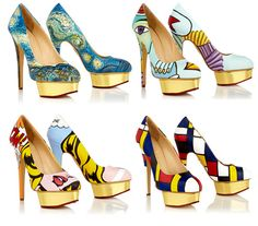 Famous Paintings On High Heel Shoes - Shoes can be art without painting them, but this is pretty cool.
