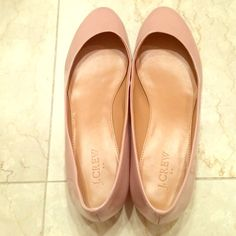 J. Crew flats Nude/blush patent leather flats. Insides are in excellent condition, outsides are as well except for scuffing on the inner toe (see photos and not visible while wearing), some wear on soles as well. J. Crew Shoes