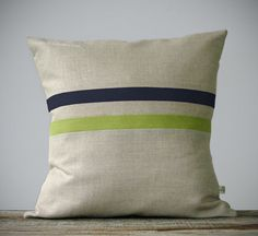 Moss Green and Charcoal Gray Striped Linen Pillow 16x16 - Fall Home Decor by JillianReneDecor - Fall 2013 - Linden Green