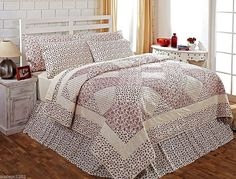 Shabby Country Chic Red Rosebud Patchwork Quilt English Cottage Collection #AshtonWillow #Cottage