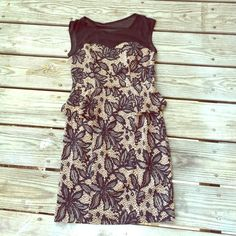 Gorgeous pattern dress! Navy blue black and nude sand color dress. perfect condition, size small. It was worn for one event only. The top shoulder part is a see you cashmere type which is super cute. The waist has small flare sides as shown in picture. Great for many events and with some wedges or sandals to dress it down Dresses