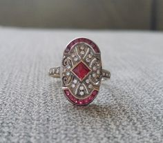 Antique Engagement Ring Two Toned Ruby Diamond by PenelliBelle