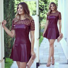 Party Fashion, Pop Fashion, Girl Fashion, Fashion Dresses, Womens Fashion, Dress Skirt, Lace Dress, Leather Dresses, Fashion Moda