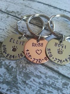 Hand stamped Personalized Pet id collar by CustomSignsandStamps, $8.99