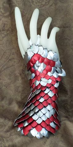 Dragon Skin Gloves, Scale Half Gauntlets Stainless Steel and Crimson Red With Leather Bucklehttps://www.etsy.com/listing/160240176/dragon-skin-gloves-scale-half-gauntlets?