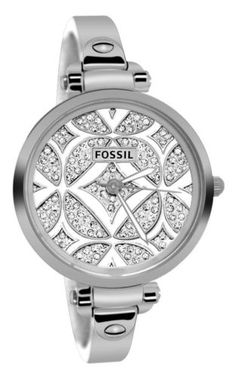 Fossil Stunning Shiny Pave Dial Silver Women's Watch Adjustable Links Bracelet | eBay