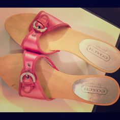 Coach pink and jewel sandals! Coach pink and jewel sandals! Good condition, only worn a couple times. USED. Small marks and nicks as shown. Please ask any questions before purchasing. Please use offer button Coach Shoes Sandals
