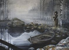 Tuonela is the Underworld, The Realm of The Dead, in Finnish mythology. Like other Underworlds from mythology, it sits on an island and is reached by crossing a river. It is ruled over by the God Tuoni, and His Wife, Tuonetar, who serves as Ferrywoman and Hostess. This realm appears in the Kalevala when Väinämöinen travels there seeking knowledge.