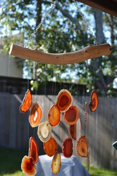 Items similar to Natural Agate & Ocean Driftwood Handmade Wind Chimes on Etsy Resin Crafts, Resin Art, Diy Crafts, Rock Crafts, Diy Wind Chimes, Nature Crafts, Suncatchers, Decoration, Making Ideas