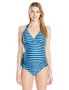 a89c516234 Introducing PregO Maternity Womens Maternity Striped Beachkini Tankini  NavyTurquoise Large. Grab Your Swimsuits Here and