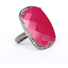 ADORNIA Pink Chalcedony and Champagne Diamond Charles Ring ($510) ❤ liked on Polyvore