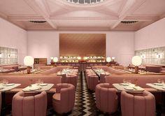 david shrigley lines sketch restaurant's pink walls with 239 original drawings