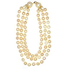 Chanel Triple Strand Necklace | From a unique collection of vintage multi-strand necklaces at http://www.1stdibs.com/jewelry/necklaces/multi-strand-necklaces/