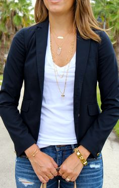 Layered necklaces with navy blazer and white tee
