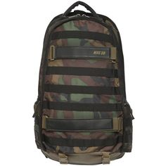 NIKE Camo Nylon Cordura Skateboard Backpack - Camouflage ($120) ❤ liked on Polyvore featuring men's fashion, men's bags, men's backpacks and camouflage