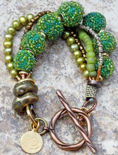 Green Acropolis Bracelet: Exotic Green Glass and Brass Multi-Strand Bracelet