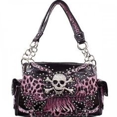 HBM Pink Leopard Print Skull Studded Conceal and Carry Purse Leopard Handbag, Skull Purse, Concealed Carry Purse, Pink Skull, Pink Leopard Print, Purses For Sale, Wallets For Women, Purse Wallet, The Ordinary