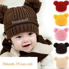 706fc9db0a8 INFANT fashion Cute baby KIDS toddler KNIT SWEATER CAP WINTER WARM HAT boy  girl in Clothing