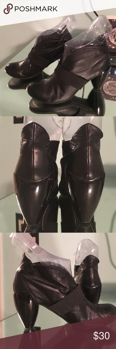 Jump for the people leather boots Maybe 3 wears, gorgeous dog leather, slip on, awesome designed shiny heels, size 8 Jump Shoes Ankle Boots & Booties