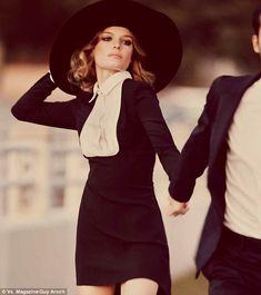 Whimsical wardrobe: Wearing an Yves Saint Laurent tuxedo dress, Prada fur, embellished Isabel Marant, and Dolce and Gabbana lingerie