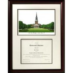 Wake Forest University Mahogany Diploma Frame & Lithograph