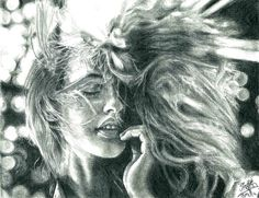 Pencil portrait of a pretty girl with hair blown by chaseroflight on deviantART