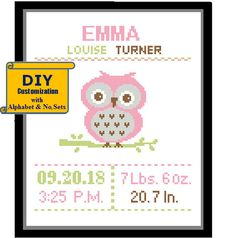 Baby Girl Owl, Baby Owls, Cross Stitch Baby, Counted Cross Stitch Patterns, Birth Records, Pattern Pictures, Alphabet And Numbers, To Color, Cross Stitching