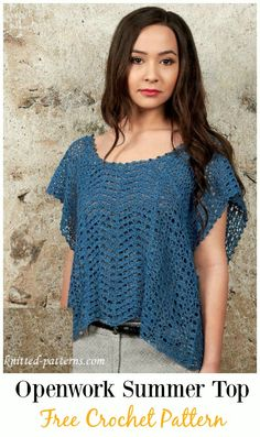 Crochet Openwork Summer Top Free Pattern -#Crochet Summer #Top Free Patterns