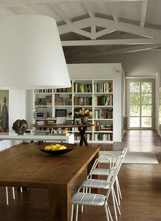 white and wood vintage scandinavian rustic modern dining room ~ just lookit the size of that table!