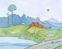 dinosaur art StegosaurusFine art printA fun and colorful Stegosaurus art print for the little dinosaur lover. Print from an illustration created with ink and Hand signed and dated- High Dinosaur Kids Room, Dinosaur Art, Cute Dinosaur, Dinosaur Drawing, Dinosaur Skeleton, Dinosaur Nursery, Kids Room Art, Art For Kids, Kid Art