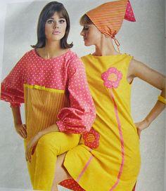 '60s Fashion. Bright yellow, pink.