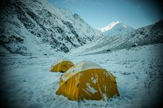 Our campsite on the trek in Langtang Valley in the Himalayas.