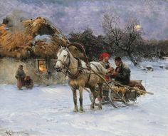 Alfred Wierusz-Kowalski (Polish, 1849-1915) - Winter Evening.