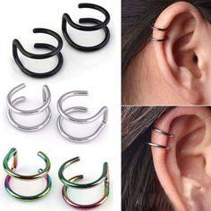 2 Pcs/set Punk Simple Clip oreille Cuff Wrap boucles d'oreilles pour les femmes mode bijoux Clip boucles d'oreilles Non - piercing Ear Cuff Eardrop