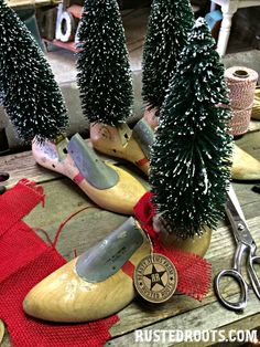 Upcycled Wooden Shoe Mold Christmas Trees