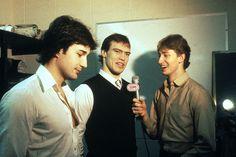 Wayne Gretzky, Paul Coffey, and Mark Messier, Edmonton Oilers...whoa! I've never seen Mess with hair!
