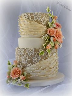 Coffee and Cream Cake ~ beautiful brush embroidery, roses and fondant ruffles