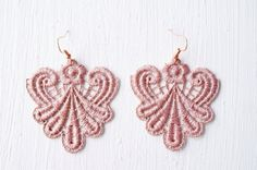 Lace Earrings in Rose Gold by White Bear