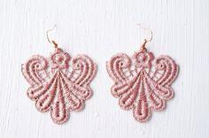 Lace Earrings in Rose Gold by White Bear