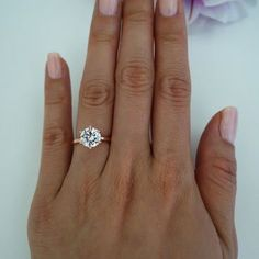 2 carat 6 Prong Solitaire Engagement Ring, Round Man Made Diamond Simulant, Wedding, Promise Ring, Bridal, Sterling Silver, Rose Gold Plated