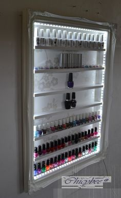 Nail Polish Beauty Product display rack with LED lighting white shabby chic