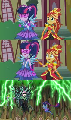 Twilight is concerned about Gaea Everfree and what she is capable of, and she wants to fight her alone. But Sunset Shimmer tells her that it is dangerou. I'll Go It Alone From Here Sunset Legend Of Everfree, Mlp, Cute Cartoon Images, Equestrian Girls, Go It Alone, My Little Pony Characters, Imagenes My Little Pony, All Themes, Anime Dress