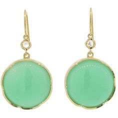 Irene Neuwirth Cabochon Mint Chrysoprase Earrings With Rose Cut Diamonds - Yellow Gold found on Polyvore
