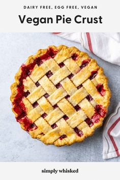 Learn how to make the best vegan pie crust. This homemade, flaky pie crust recipe is made with shortening and will give you the perfect results every time. It's also great if you're just out of butter. Homemade Pie Crusts, Pie Crust Recipes, Fun Desserts, Dessert Recipes, Summer Desserts, Eggless Desserts, Cherry Desserts, Recipes Dinner, Breakfast Recipes