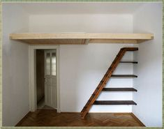 Bildergebnis für treppe regal - Wedding Home Decoration Mezzanine Bedroom, Loft Room, Bedroom Loft, Loft Beds, Bedroom Kids, Trendy Bedroom, Staircase Shelves, Loft Stairs, Small Rooms
