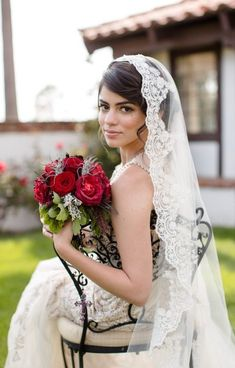 Beaded lace veil in fingertip length  Spanish by VanyaBvlgari, $110.00