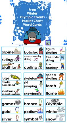 Winter Olympic Events Pocket Chart Word Cards (free; from The Wise Owl Factory)